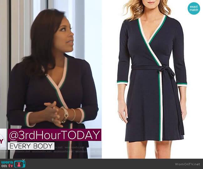 Contrast Trim Surplice V-Neck Wrap Dress by Eliza J worn by Sheinelle Jones  on Today