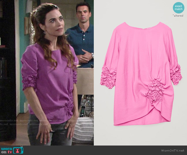 Cos Draped Top with Gathering worn by Victoria Newman (Amelia Heinle) on The Young & the Restless