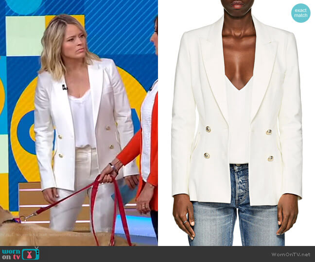 Cotton Double-Breasted Blazer by Derek Lam 10 Crosby worn by Sara Haines  on Good Morning America