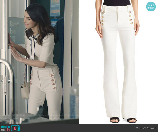 Robertson Flare Pants by Derek Lam 10 Crosby worn by Alicia Mendoza (Denyse Tontz) on Grand Hotel