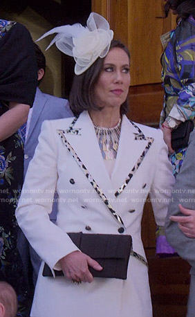 Diana's white blazer with leopard trim on Younger