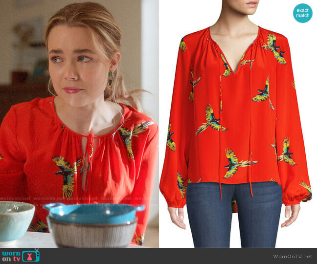 Diane von Furstenberg Silk Bird-Print Long-Sleeve Blouse worn by Ainsley Howard (Rebecca Rittenhouse) on Four Weddings & a Funeral