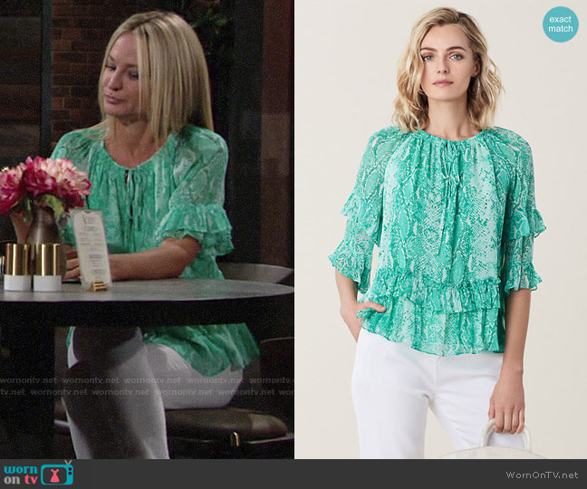 Diane von Furstenberg Annabel Top in Python Shocking Jade worn by Sharon Collins (Sharon Case) on The Young & the Restless