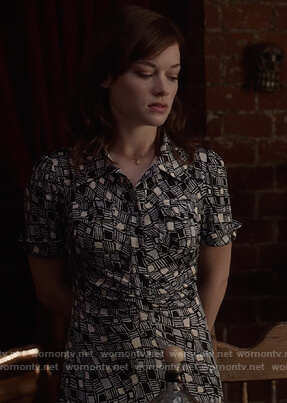 Lisa's geometric print dress on What/If