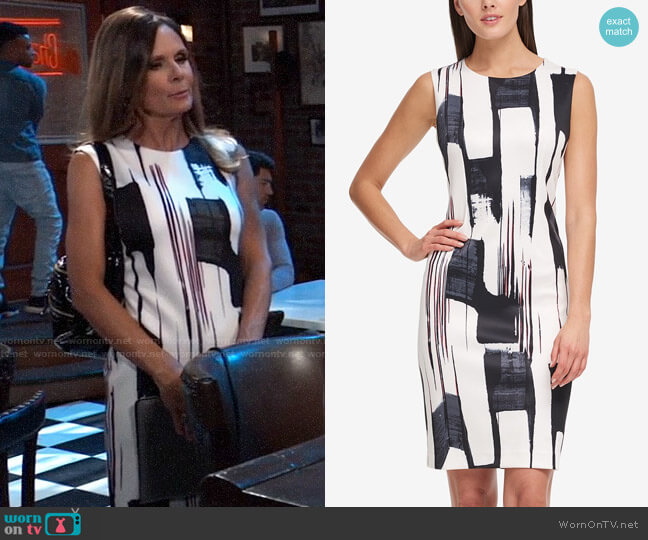 DKNY Brushstroke-Print Sheath Dress worn by Lucy Coe (Lynn Herring) on General Hospital