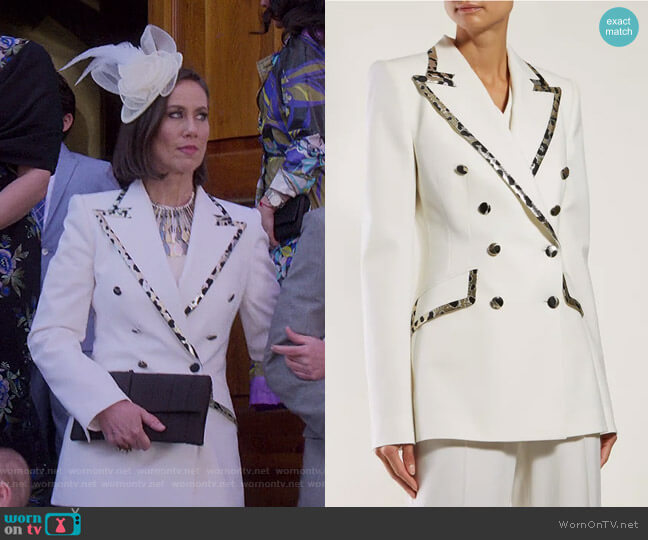 Leopard-Trim Double-Breasted Jacket by Dolce & Gabbana worn by Diana Trout (Miriam Shor) on Younger