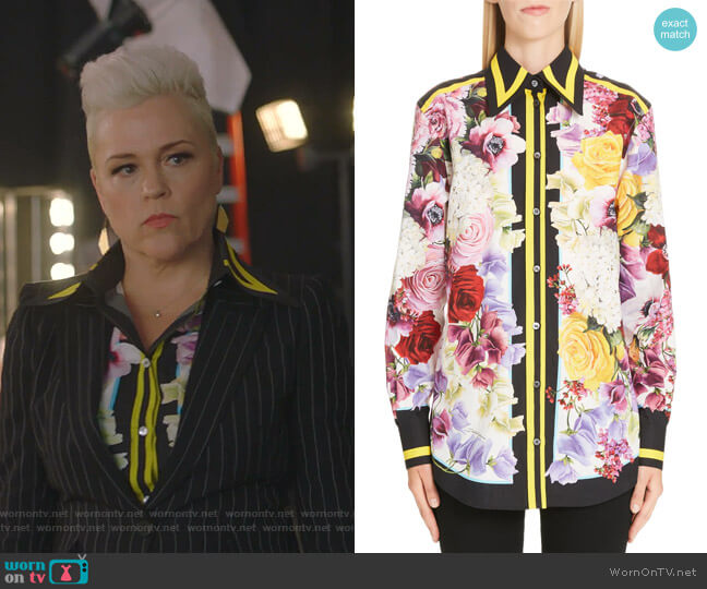 Stripe Trim Floral Print Poplin Shirt by Dolce & Gabbana worn by Christine Elise  on BH90210
