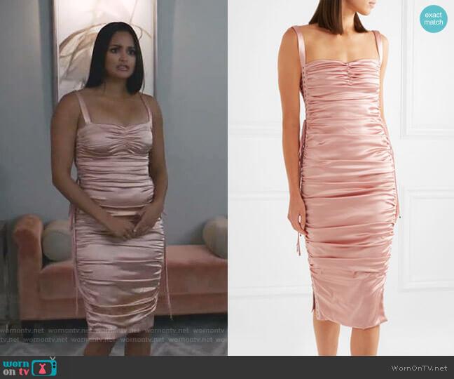 Ruched Satin Lace-Up Dress by Dolce & Gabbana worn by Carolina (Feliz Ramirez) on Grand Hotel