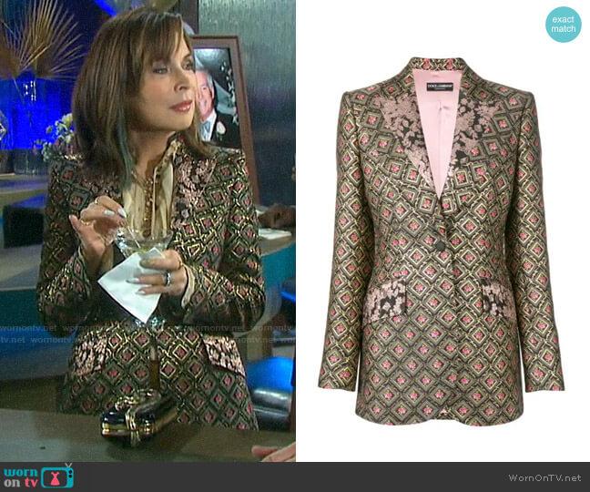 Dolce & Gabbana Brocade Blazer worn by Kate Roberts (Lauren Koslow) on Days of our Lives