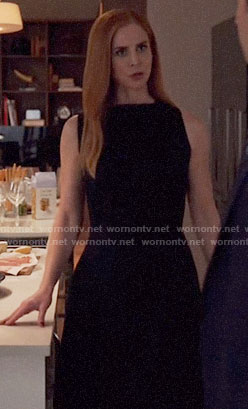 Donna's black fit and flare dress on Suits
