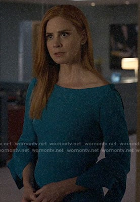 Donna's blue flared sleeve dress on Suits