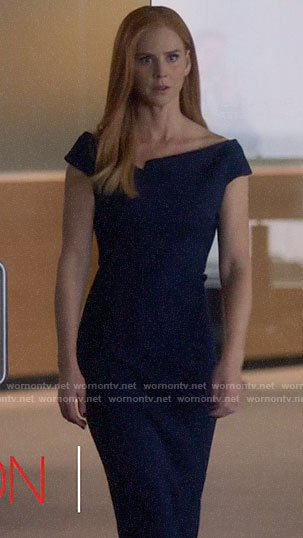 Donna's blue notch detail dress on Suits