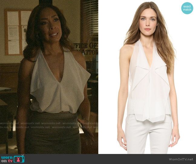 Donna Karan New York Sleeveless Petal Blouse worn by Jessica Pearson (Gina Torres) on Pearson