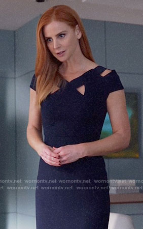 Donna's navy cutout dress on Suits