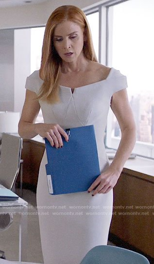 Donna's white notch neck dress on Suits