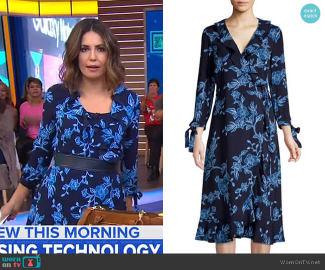 Geranium Floral Wrap Dress by Draper James worn by Cecilia Vega  on Good Morning America