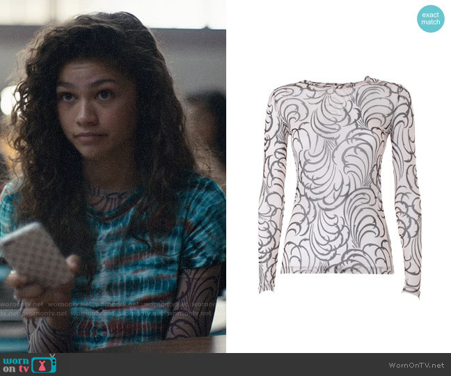 Dries van Noten Hasty Tattoo Top worn by Rue Bennett (Zendaya) on Euphoria