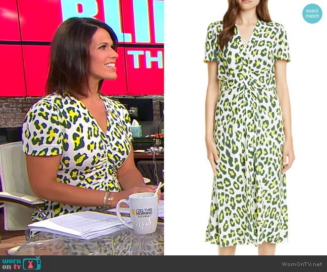Cecilia Summer Leopard Print Midi Dress by Diane von Furstenberg worn by Dana Jacobson  on CBS This Morning