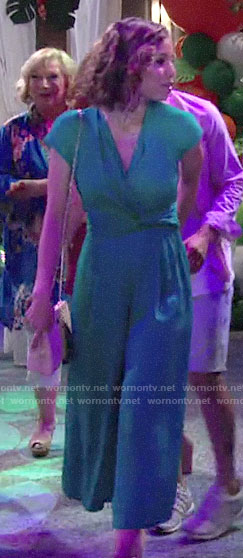 Elena's green jumpsuit on The Young and the Restless