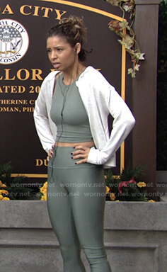 Elena's green sports bra and leggings on The Young and the Restless
