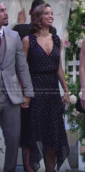 Elena's navy metallic dotted dress at Kyle and Lola's wedding on The Young and the Restless