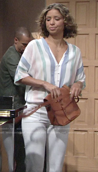 Elena's striped tie front top on The Young and the Restless