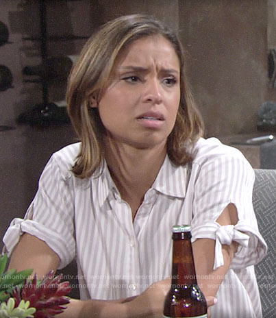 Elena's striped tie sleeve shirt on The Young and the Restless