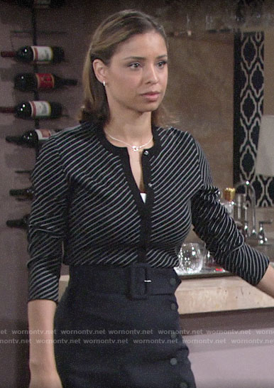 Elena's striped cardigan and button front skirt on The Young and the Restless