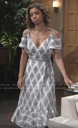 Elena's striped lace cold shoulder dress on The Young and the Restless