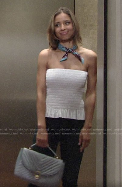 Elena's white smocked strapless top on The Young and the Restless
