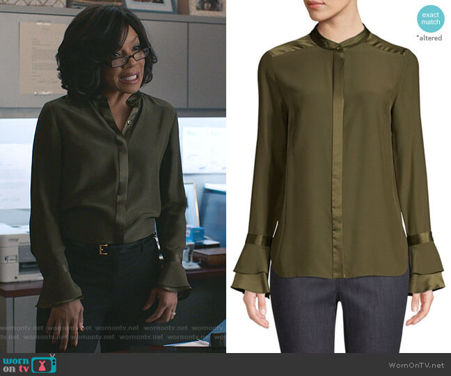Safiya Bell-Sleeve Silk Blouse by Elie Tahari worn by Helen Parker (Wendy Raquel Robinson) on Grand Hotel