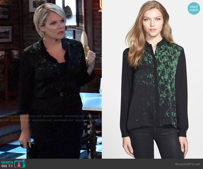 Elie Tahari Chelsea Blouse worn by Ava Jerome (Maura West) on General Hospital