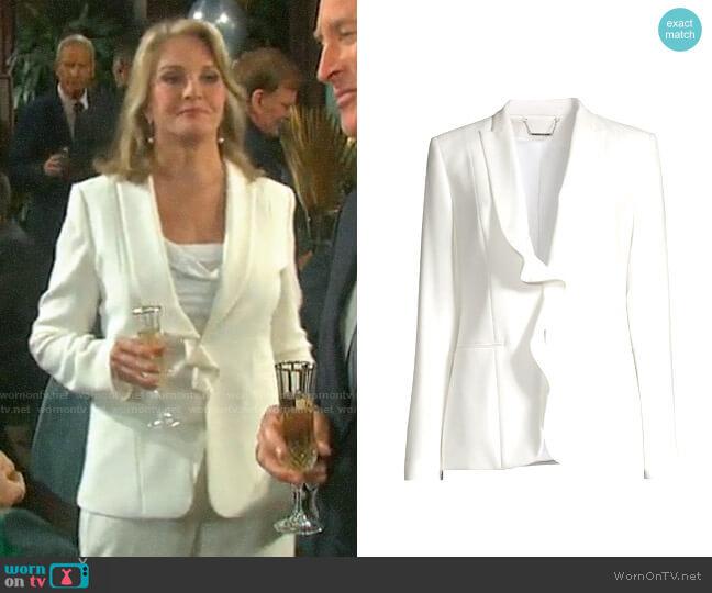 Elie Tahari Selena Ruffled Jacket worn by Marlena Evans (Deidre Hall) on Days of our Lives
