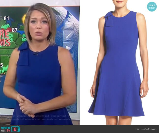 Bow Shoulder Crepe Fit & Flare Dress by Eliza J worn by Dylan Dreyer  on Today