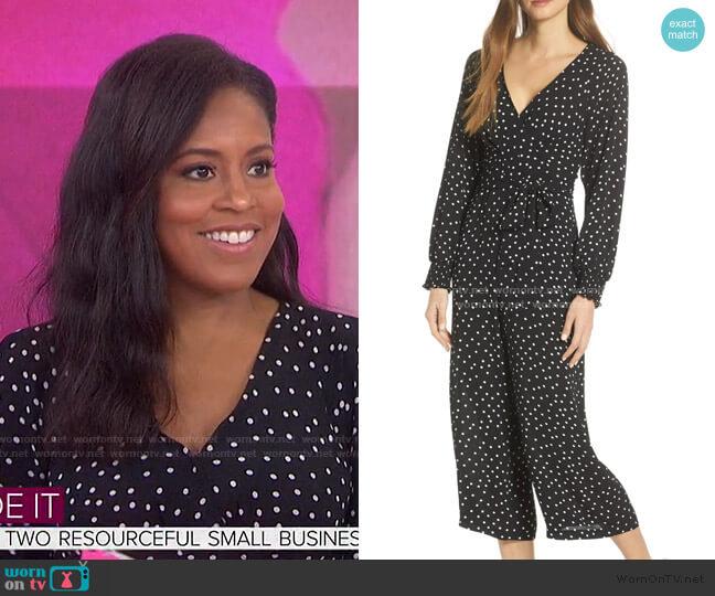 Faux Wrap Crop Jumpsuit by Eliza J worn by Sheinelle Jones  on Today