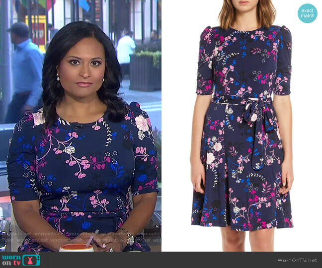 Floral Print Ruched Sleeve Fit & Flare Dress by Eliza J worn by Kristen Welker on Today