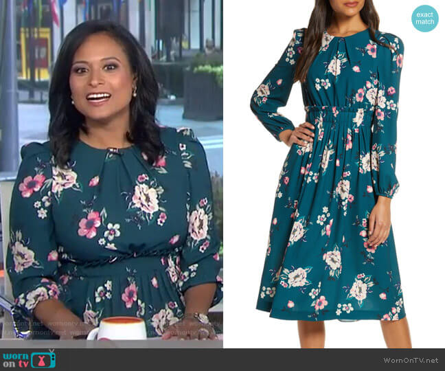 Floral Print Long Sleeve Midi Dress by Eliza J worn by Kristen Welker on Today