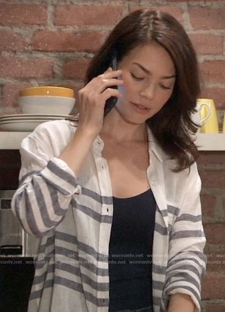 Elizabeth's striped linen shirt on General Hospital
