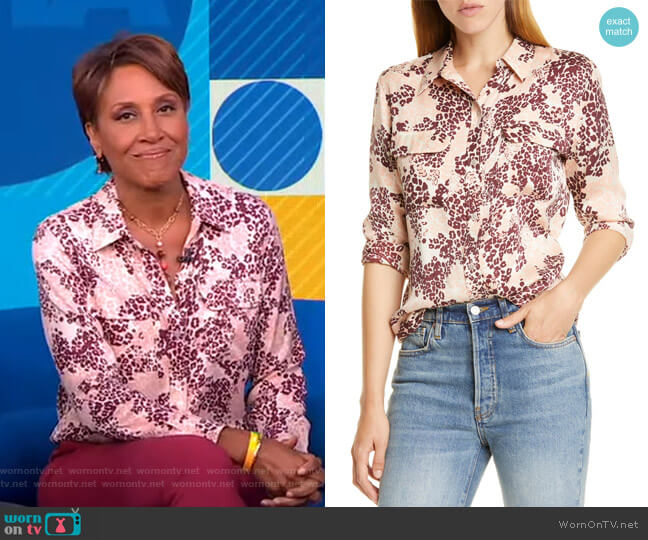 Slim Signature Print Silk Blend Shirt by Equipment worn by Robin Roberts  on Good Morning America
