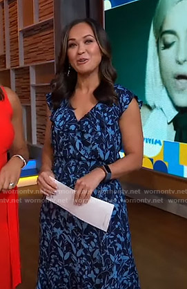 Eva's blue floral ruffled dress on Good Morning America