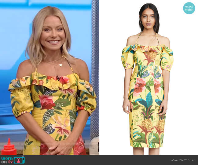 Golden Jungle Linen Midi Dress by Farm Rio worn by Kelly Ripa  on Live with Kelly & Ryan
