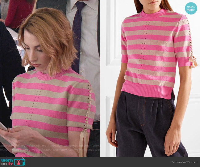 Lace-Up Striped Pointelle-Knit Top by Fendi worn by Lauren (Molly Bernard) on Younger