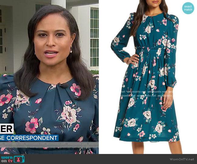 Floral Print Long Sleeve Midi Dress by Eliza J worn by Kristen Welker on Today