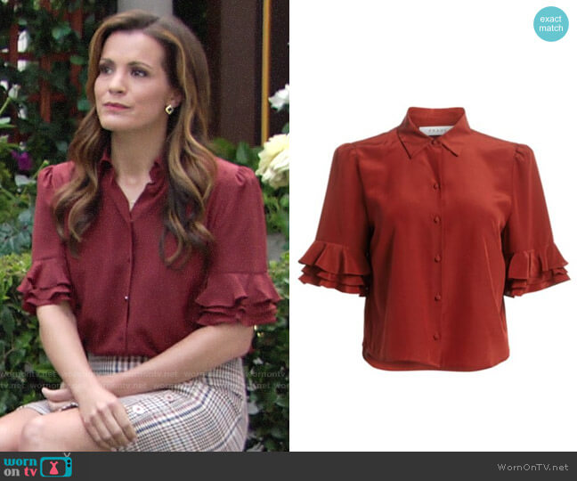 Frame Ruffled Sleeve Silk Top worn by Chelsea Lawson (Melissa Claire Egan) on The Young & the Restless