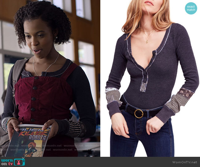We The Free Railroad Henley by Free People worn by Ani (Grace Saif) on 13 Reasons Why