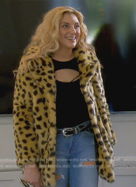 Gina's fur leopard coat on The Real Housewives of Orange County
