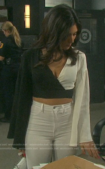 Gabi's black and white cropped wrap top on Days of our Lives