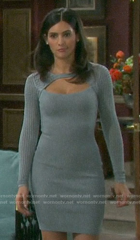 Gabi's grey mesh sleeve dress on Days of our Lives
