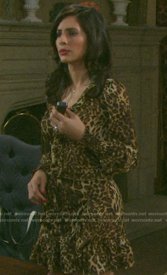 Gabi's ruffled leopard print top and skirt on Days of our Lives