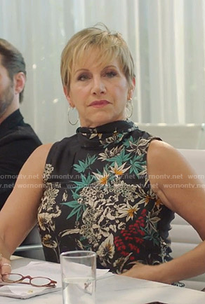 Gabrielle's black floral sleeveless top on BH90210